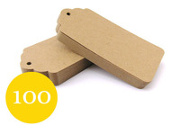 100 Kraft Tags - Large Scallop Luggage Tags - Size 4.5cm x 9.5cm - Set of 100 Blank Gift Tags