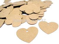100 Mini Heart Shaped Kraft Tags - Set of 100  Blank Gift Tags 3.5*3cm