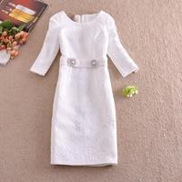 Free shipping 2014 Wholesale Women's European leg of the big early autumn jacquard dignified elegance sleeve dress wear dress