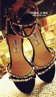 Fashion rhinestone female high-heeled sandals genuine leather thin heels 2014 jimmy cho sexy wedding shoes