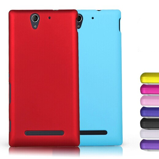 Matte Rubberized Anti-skid Style Various Color Case for SONY Xperia C3 S55T Ultra thin Hard Back Protective Cover Cell Phone Bag(China (Mainland))