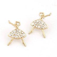 Fashion Metal Gold Crystal Girl Figure Earring For Women