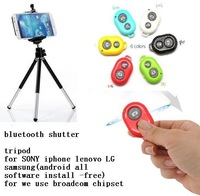 Bluetooth remote Shutter+ Mini Tripod + Stand Holder for iPhone 4 4s 5 5s for Samsung  SONY LG HUAWEI   free software install