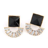 Fashion Metal Resin Square Earring Women Crystal Stud Earring
