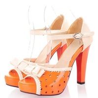 free shipping Polka Dot Bow sweet high heels, fish head princess high heels, patent leather shoes hit color