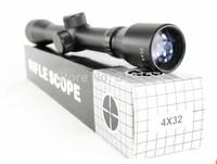 black 4X32 Rifle Scope Tactical Precision Optics Mount Air Rifle Gun Scope Collimator Gunner red laser scope sight telescope