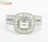 6x6mm Cuahion 14K White Gold Natural Pave Set Diamond Semi Mount Setting Ring & Wedding band Free Shipping