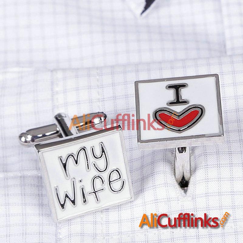 Cufflinks 3949 men's designer cufflinks Brand I LOVE MY WIFE DAD YOU silver cufflink custom cuff links(China (Mainland))