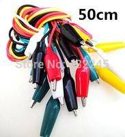 Free shipping.10pcs/lot.Double Alligator Clip Wire,test wire , DIY wire and  Alligator clip.1 to 1.length .50cm