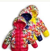 RW0072 Free Shipping Flower Girl's Brand Winter Jackets Hooded Coats Baby Eiderdown Coat Children's Winter Warm Outerwear Retail