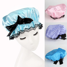 Home Products Women Waterproof Solid Bouffant Shower Hat Elastic Band With Black Bowknot 3 Color Shower Cap HG-1021(China (Mainland))