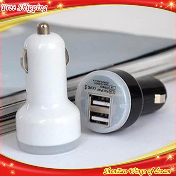 1PCS/Lot mini Universal double usb Car Charger for iPhone s5 carregador veicular car power inverter 12v car battery charger(China (Mainland))