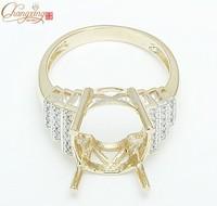 12x14mm Oval 14K Yellow Gold Natural Pave Set Diamond Semi Mount Setting Ring Free Shipping