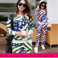 2014 Autunm Designer Women New Flag Fashion Camouflage Tracksuits Plus Size M-3XL Large Size Lady Sportswear Girl Sweatshirt Set