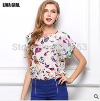 body new XXL summer women loose big yards puls size short sleeve sheer blouse shirt round neck print chiffon vest cotton tops