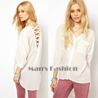 2014 summer Fashion women V-neck blouse shirts Strip Back Long Sleeve Ladies Hollow out Sexy Blouses Shirt #4 SV004576