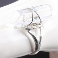 1Pc Clear Rock Quartz Gem Stone Bead Healing Chakra Wire Wrap Adjustable Finger Ring