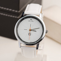 New Casual Unisex Quartz Watch Individuality Number 6 Design PU Leather Strap Wrist Watch,Simple Fashion Men Women Gift Watches