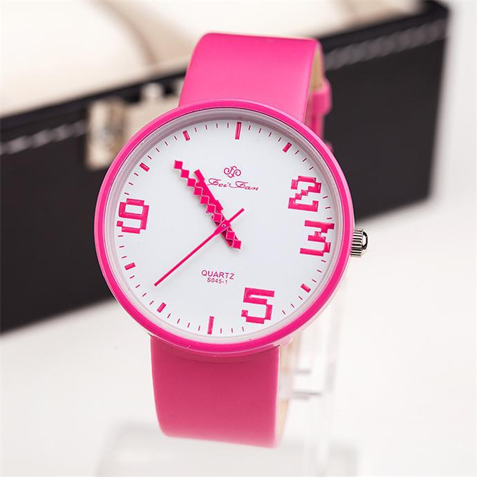 Free shipping Fashion concise women casual watch Trendy leather ladies quartz watch Fashion jewelry