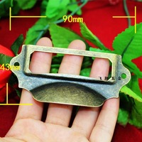 90 * 43MM Large antique label  box business card holder business card box drawer handle  decorative box