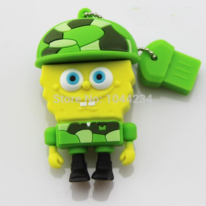 high quality 100% cute cartoon pen drive SpongeBob Square usb flash drive 32GB 16GB 8GB 4GB Square memory stick pen driver gift(China (Mainland))