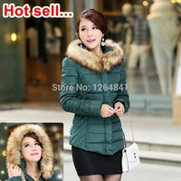 New 2014 jacket winter coat thicken Slim female raccoon fur collar and long coat women parka winter coat plus down & parkas YY23