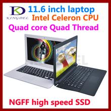 USB 3.0 support 11.6 inch laptop netbook pc Intel Celeron N2930 Quad Core Quad Thread 4GB RAM NGFF 64GB SSD Wifi Bluetooth HDMI(China (Mainland))