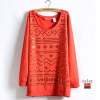 3Color 4XL-8XL Plus Size Women Sequined Sweatshirt Pullover Tunic Big Large Oversize XXXXL XXXXXL XXXXXXL 2014 New Autumn Fall