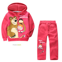 RC0114 Free shipping Children Clothing Sets  Baby Girls Masha Bear Suit  Hoody Jacket+Pants Clothes Kids Sportswear Retail