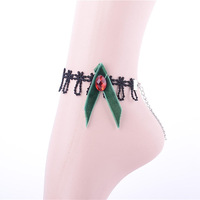 2014  green bow anklet jewelry with ruby stone alibaba stock price bijoux new Gothic fashion Anklets stock Free shipping