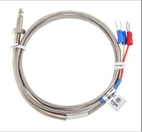 Free  Shipping !  1m High Temperature Cable PT100 RTD with 6mm Thread Thermometer sensor  TS138