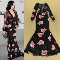 2014 new fashion women black maxi dresses summer autumn runway flower print floor-length deep V bandage dress vestido de festa