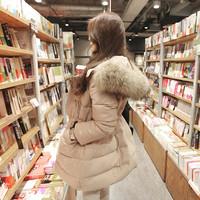 Large fur collar slim medium-longdown coat female down jacket Thickening winter outwear women Korean style winter coat lady