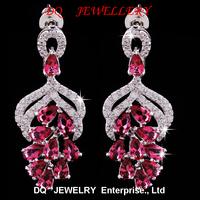 Retail &Wholesale Women Jewelry Drop Earrings Crystal Vivid green Cz Amethyst Crystal Earrings for women free shipping
