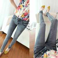2014 vintage long pants jeans stretch slim skinny women ladies denim pencil pants grey free shipping!