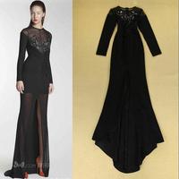 New 2014 Women XL Plus size Black Evening party Long Dresses Bodycon Split brief red Mermaid Dress vestidos de fiesta Gowns