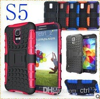 Wholesale - Robot Shockproof Protection Hybrid Heavy Duty Durable TPU silicone PC Cases for samsung Galaxy S5 i9600 S4 i9500 / h