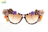 2014 sexy leopard print flower sunglasses women brand designer lenses fashion UV protection Aviator round cat eye sun glasses V1