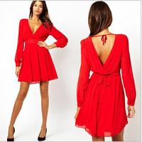 2014Summer European Cultivate  Long-Sleeved V-Neck Waist Chiffon Dress Sexy Night Club Dress S M L XL 2XL Free Shipping