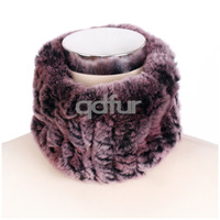 Handmade Ladies' Genuine Natural Knitted Rex Rabbit Fur Scarf Scarves Winter Women Fur Ring Neckchief Mufflers Headband QD30440