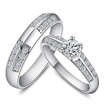 60% от продвижение оптовая продажа 2014 пара обручальные кольца для мужчин и женщин 925 серебряное кольцо кристалл ювелирные изделия аксессуары Ulove J511