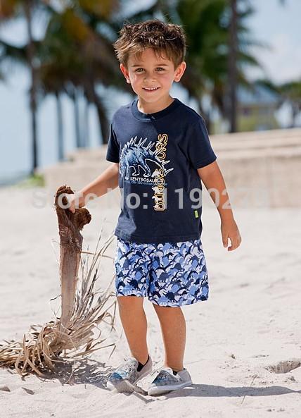 hot selling 2015 dinosaur Cartoon images Summer Children Sets(t shirt+pant) boy dresses New Design Wholsale Top Quality(China (Mainland))