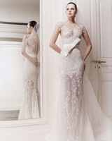 2014 Alibaba Lace Appliques Champagne Colored transparent wedding dress