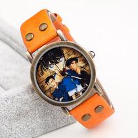 Newest Hot Sale Casual Unisex Style Leather Strap Dress Watches,Detective Conan Cartoon Design Vintage Men Women Quartz Watches