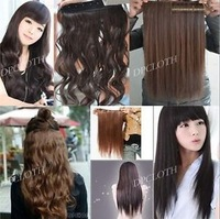 Hot 45cm 60cm Women Long Fashion Curly Wavy Hair Extension 5 Clips IN 4 Colors Good Selling Hair Extensions Wholeslae