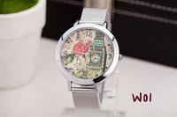 2014 new women dress watches Mesh belt watch tower belfry Lotus flower models watches free shipping 1pcs