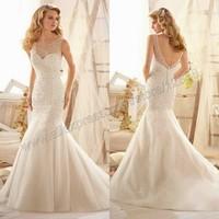 Sparkling Allover Beading on Net The Backless Mermaid Ivory Tulle Wedding Dress 2014