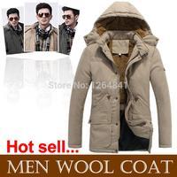 High-grade wool coat man,2014 NEW Winter jacket men Hooded collar men's Clothing down jacket Fashion wild outdoors coats