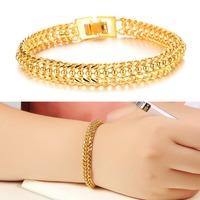 Fashion 18K Real Yellow Gold Plated Bracelet Handmade Luxury Valentine's Day Gift Women Wedding Jewelry Bangle 424