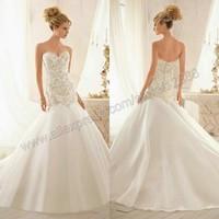 Crystal Beaded Embroidery On Tulle Mermaid Sweetheart Weddingdress Wedding Dresses New